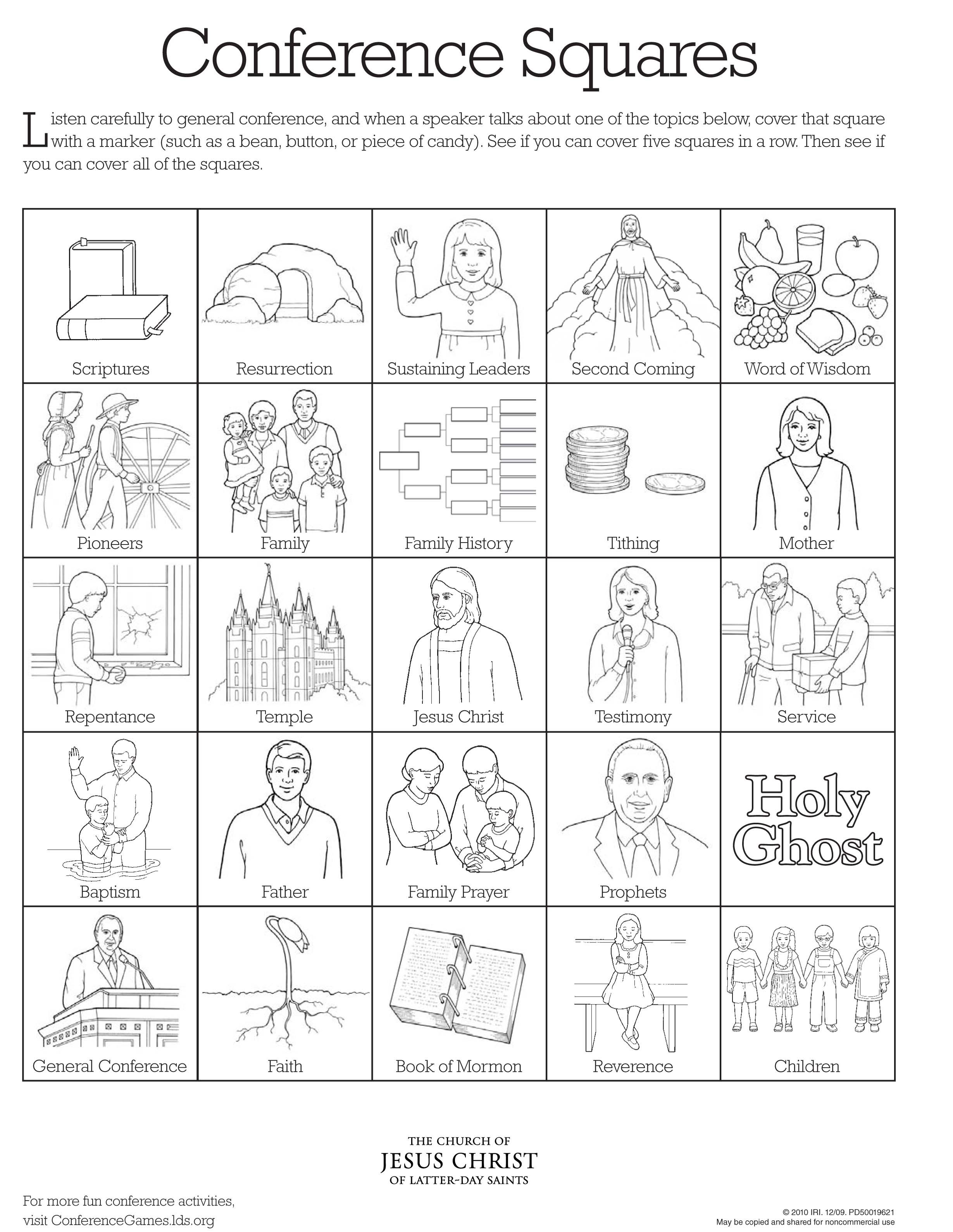 conference squares bingo general conference