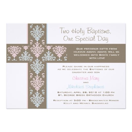 Boy and Girl Twin Christening Invitation Christening invitations - sample baptismal invitation for twins