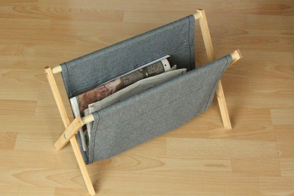 How To Make A Simple Rustic Folding Magazine Rack From Wood And Fabric Diy Magazine Holder Diy Holder Magazine Holders