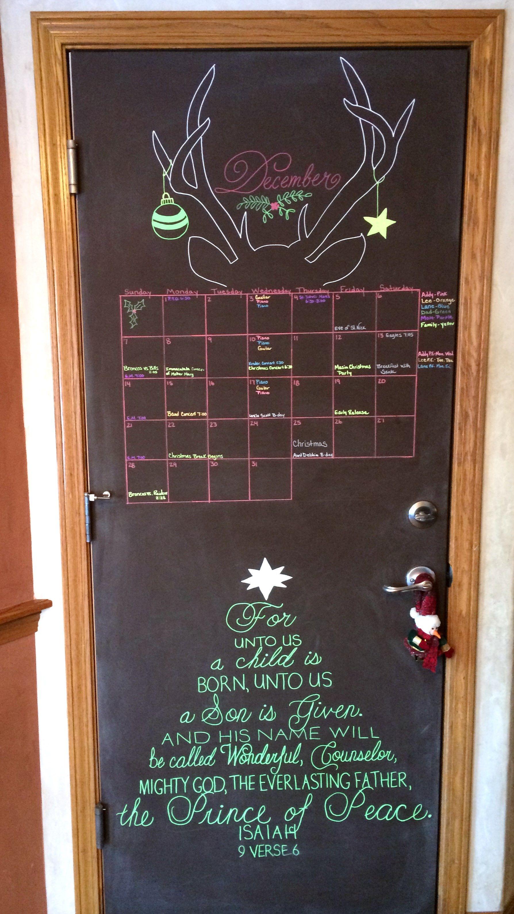 December 2014 Chalkboard Calendar