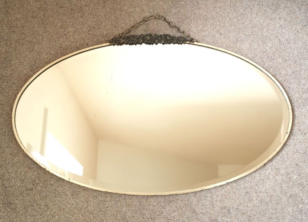 Large Vintage Oval Art Deco 20/30s Bevelled Wall Mirror Chrome Frame ...