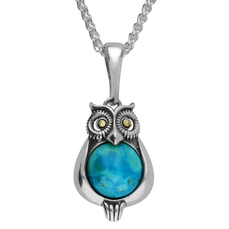 Turquoise Necklace Owl Marcasite Eyes Silver #cwsellors #necklaces