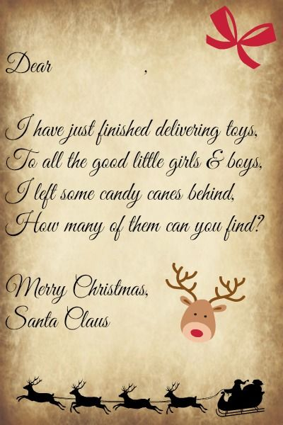 Christmas morning letter from santa with religious theme a letter from santa initiate a candy cane hunt on christmas morning spiritdancerdesigns Image collections