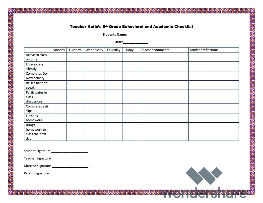 A Behavioral Chart For Teacher Katie S 6th Grade Science