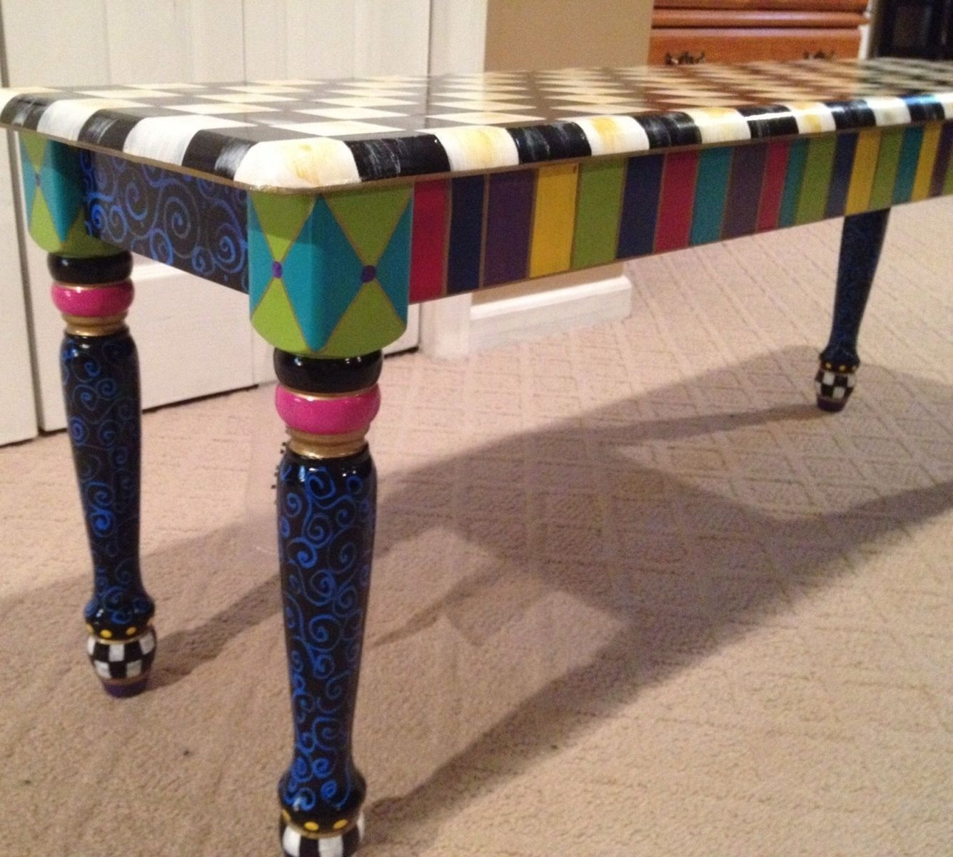 Buy Handmade Custom Wood Bench Hand Painted Whimsical Harlequin .