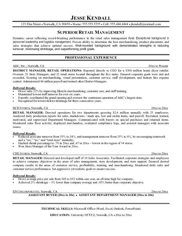 Examples Of Resume Objectives For Retail Management Work - district manager resume sample