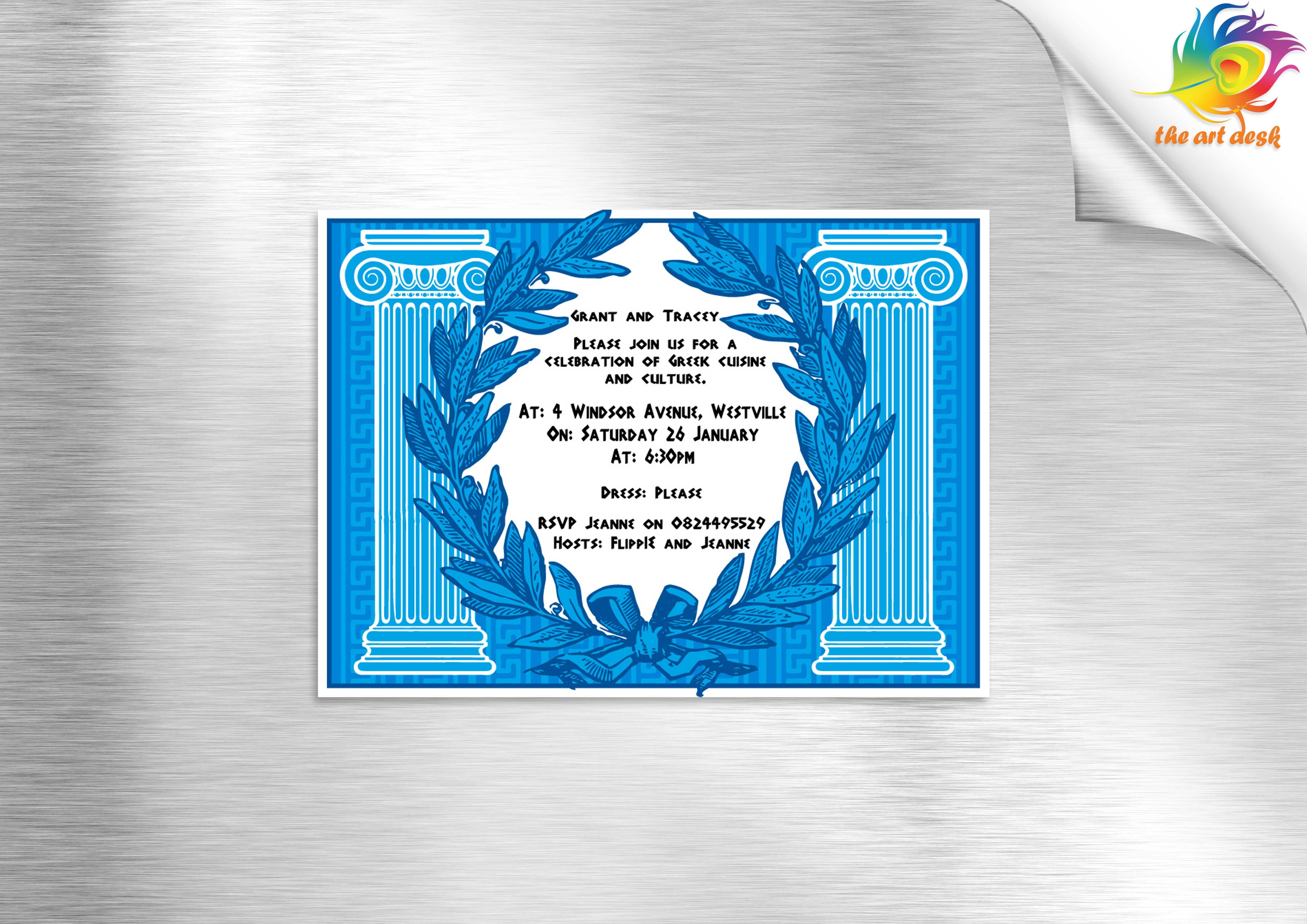 Dinner party invitation - Greek theme
