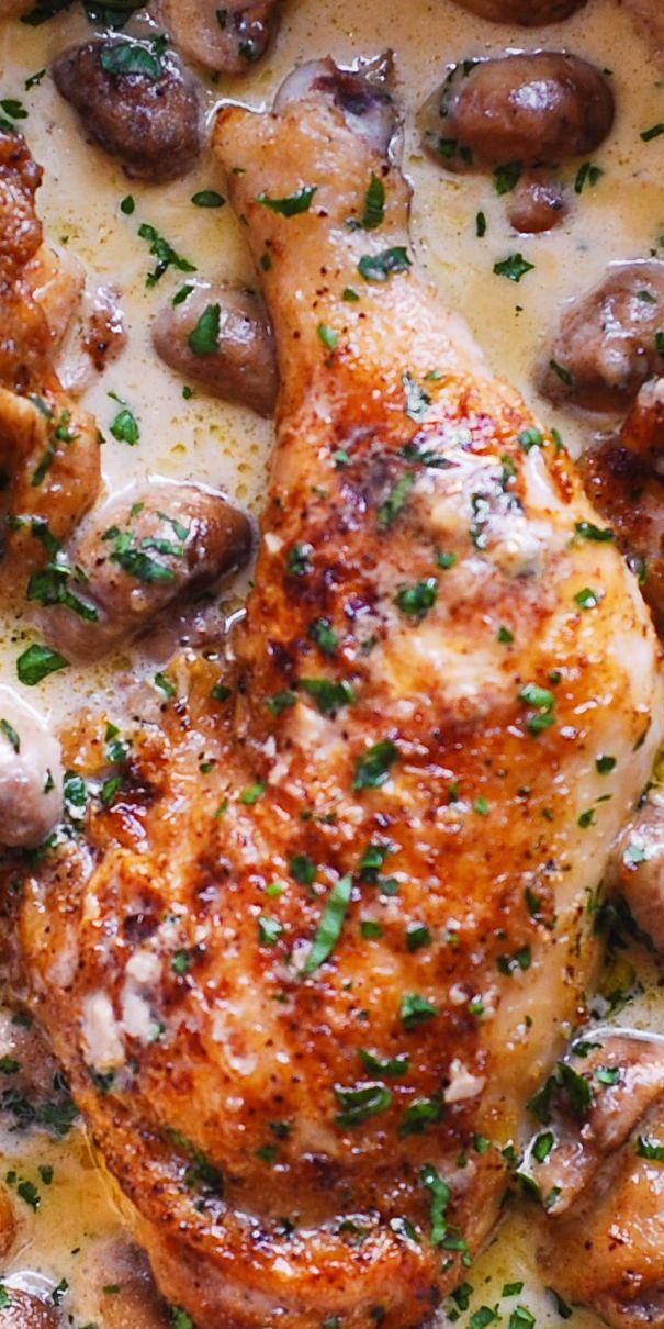 Easy Chicken Legs With Creamy Mushroom Sauce Dinner