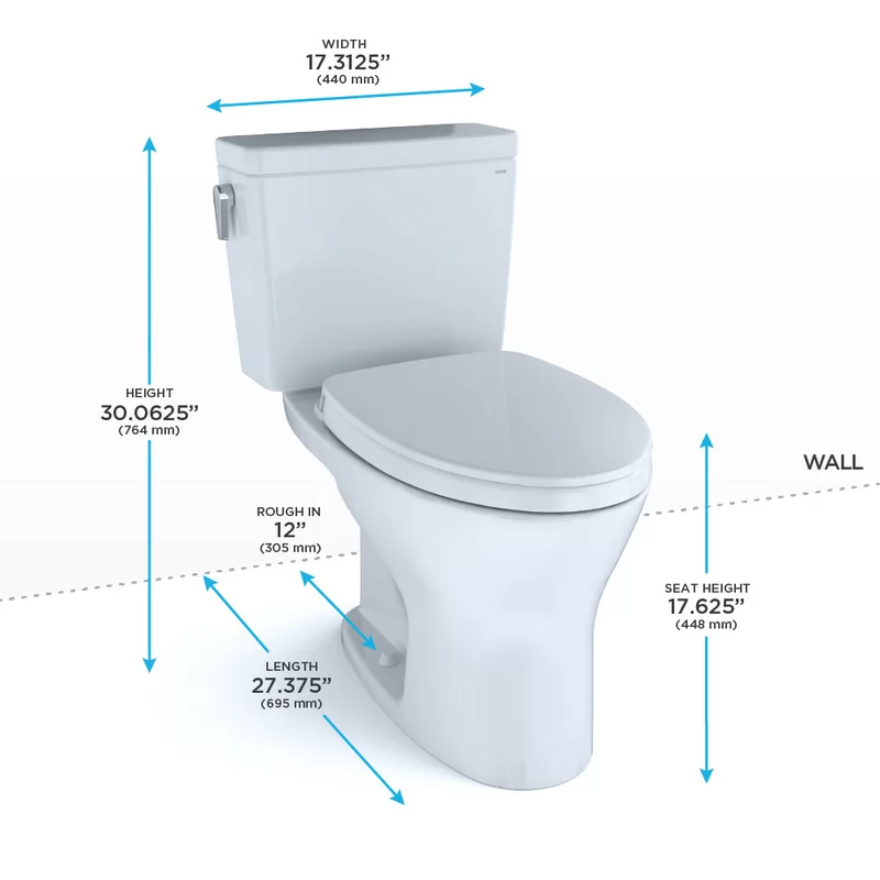 Drake Two Piece Elongated Dual Flush 1 6 And 0 8 Gpf Universal Height Dynamax Tornado Flush Toilet With Cefiontect Washlet Ready Seat Included Toto Toilet Washlet Toilet