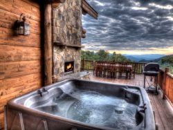Beautiful View From Hot Tub Outdoor Fireplace And Dining At Moose Lodge Bryson City Nc Luxury Lodge Secluded Bryson City Nc