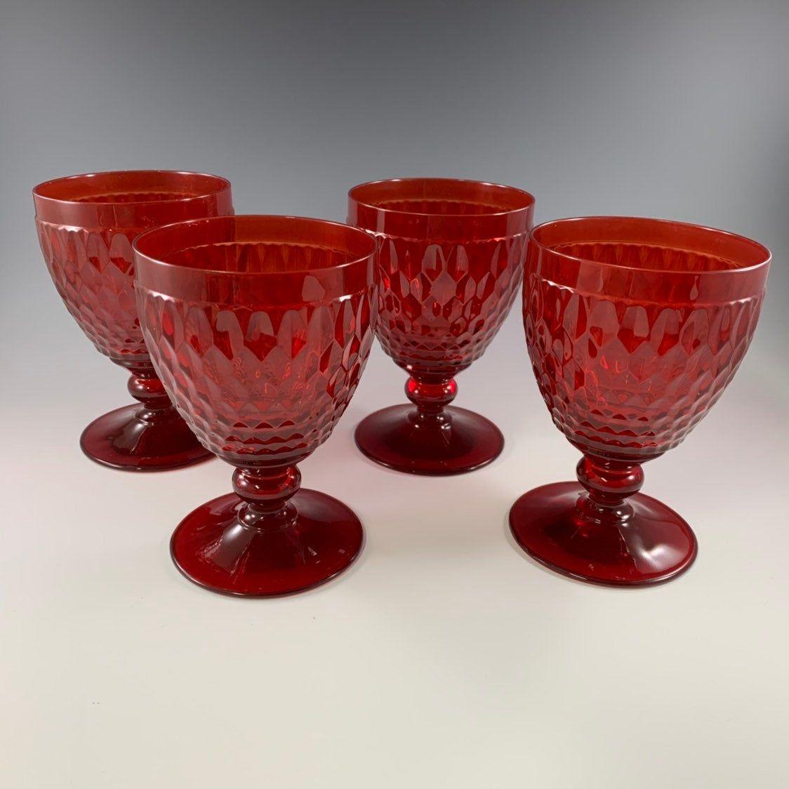 Boston Water Glass Villeroy Boch: Villeroy & Boch Boston Red 8.5 Ounce Water Goblets