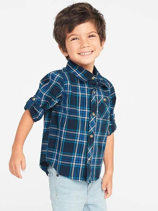 780eeecd90 Old Navy Plaid Poplin Roll-Sleeve Shirt for Toddler Boys | Products ...