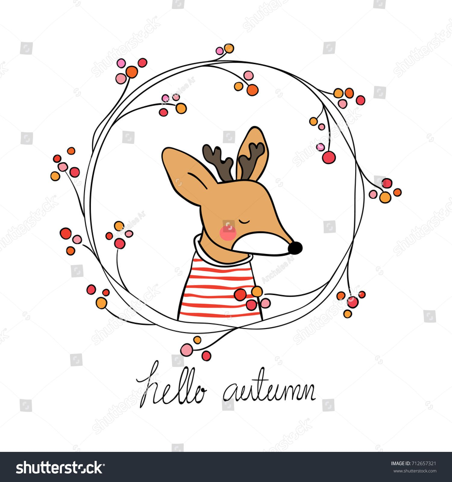 Photo of Cute Draw Vector Illustration Deer Beauty Stock Vector (Royalty Free) 712657321