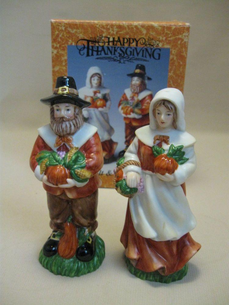 Cracker Barrel Salt & Pepper Shakers Figurine Harvest Pilgrim Man ...