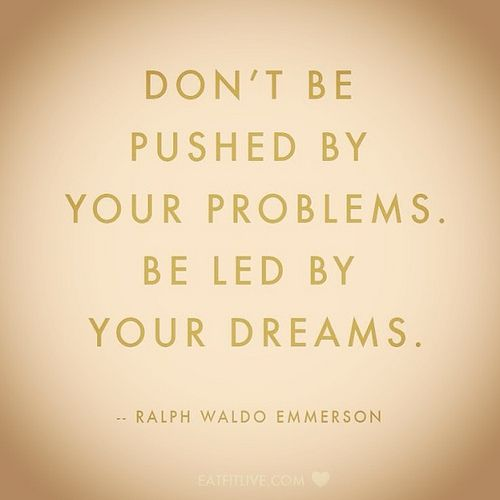 Happy Friday! Don't be Pushed by your problems. Be led by your dreams. #friday #dreams #quote