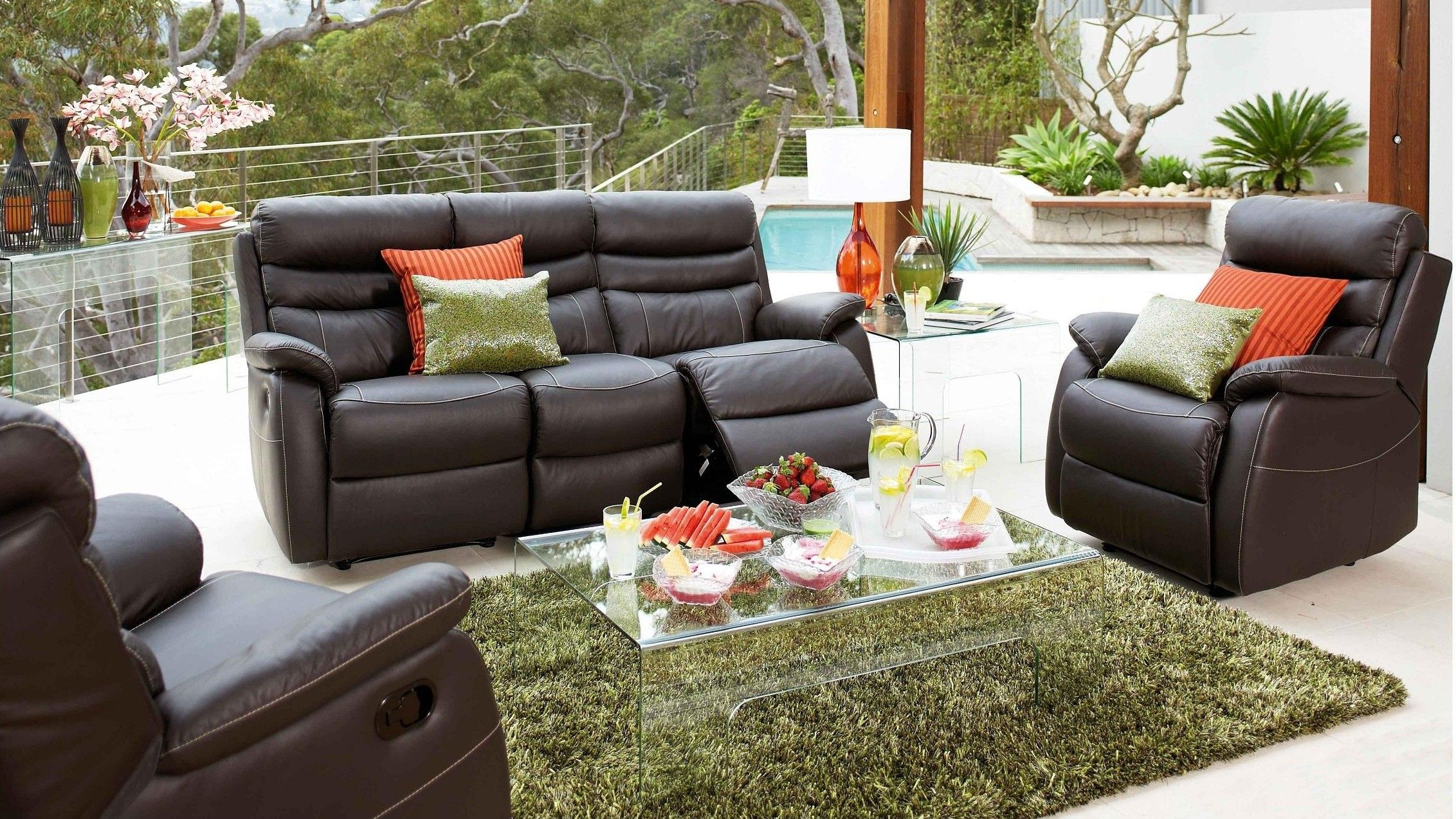 Chanelle 3 Piece Leather Recliner Lounge Suite Lounges