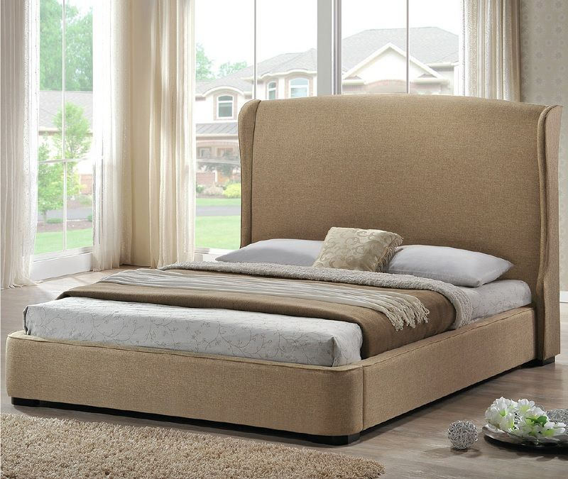This classic bed frame comes with a high, padded headboard