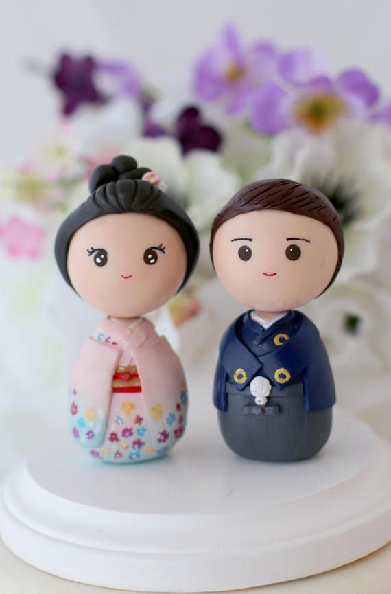 Japanese Wedding Cake Topper Personalized Bride And Groom In 2019