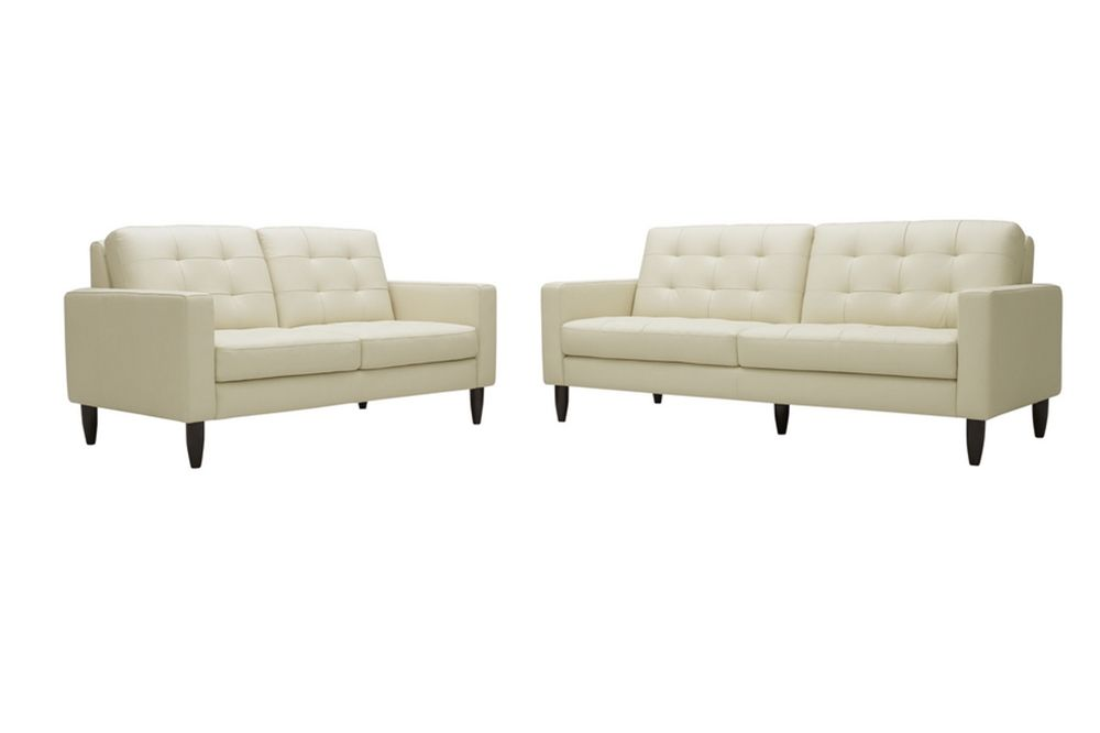 Caledonia Cream Leather Modern Sofa Set Wholesale Interiors