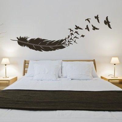 Uccelli In Volo Dalla Piuma Stickers Murali Adesivi Murali