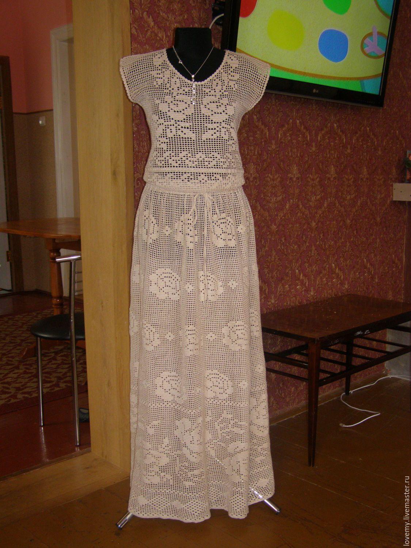 Связать платье филейное вязание