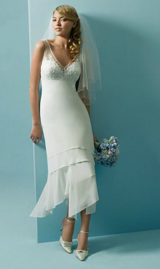 Casual Chiffon V-neck Wedding Dress for Older Brides Over 40, 50, 60 ...
