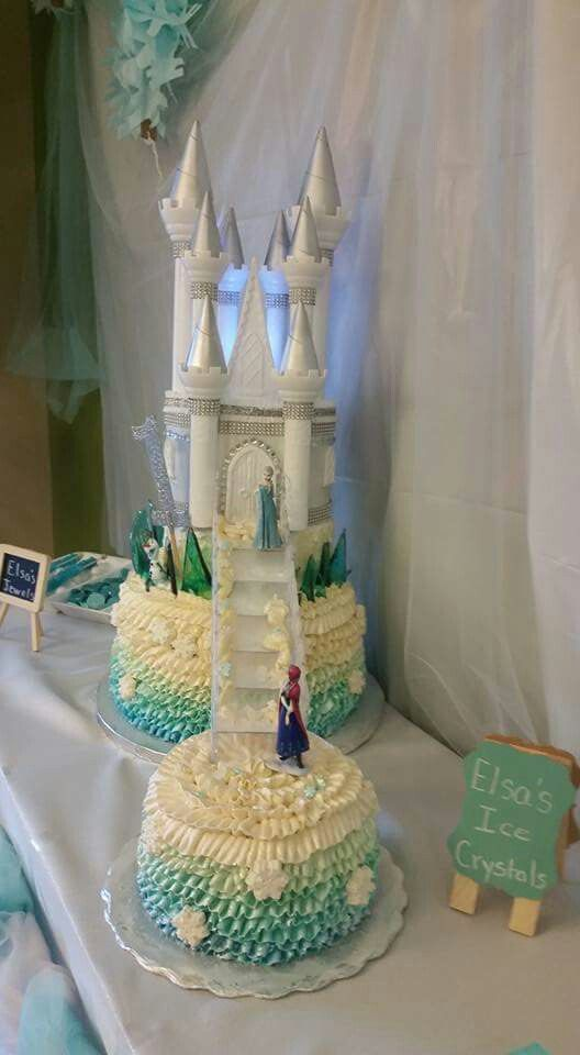 Frozen castle with Elsa Anna and Olaf 1st birthday cake Large