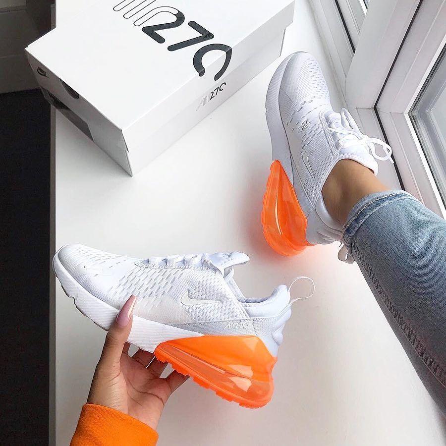 Nike Air Max 270 White Total Orange Snkraddicted Com Schuhe Schuhe Damen Coole Schuhe