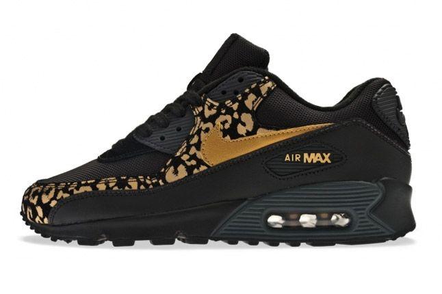 nike wmns air max 90 leopard print black gold