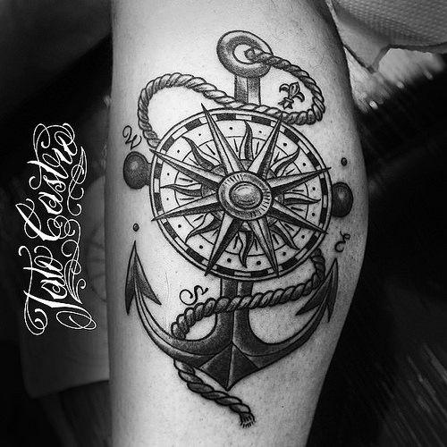 Compass Anchor Compasstattoo Anchortattoo Legtattoo Ancla