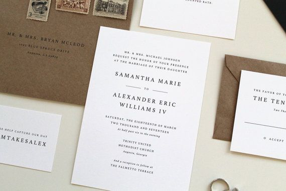 Simple wedding invitations modern wedding invitation design simple wedding invitations modern wedding by tiedandtwo on etsy stopboris Images
