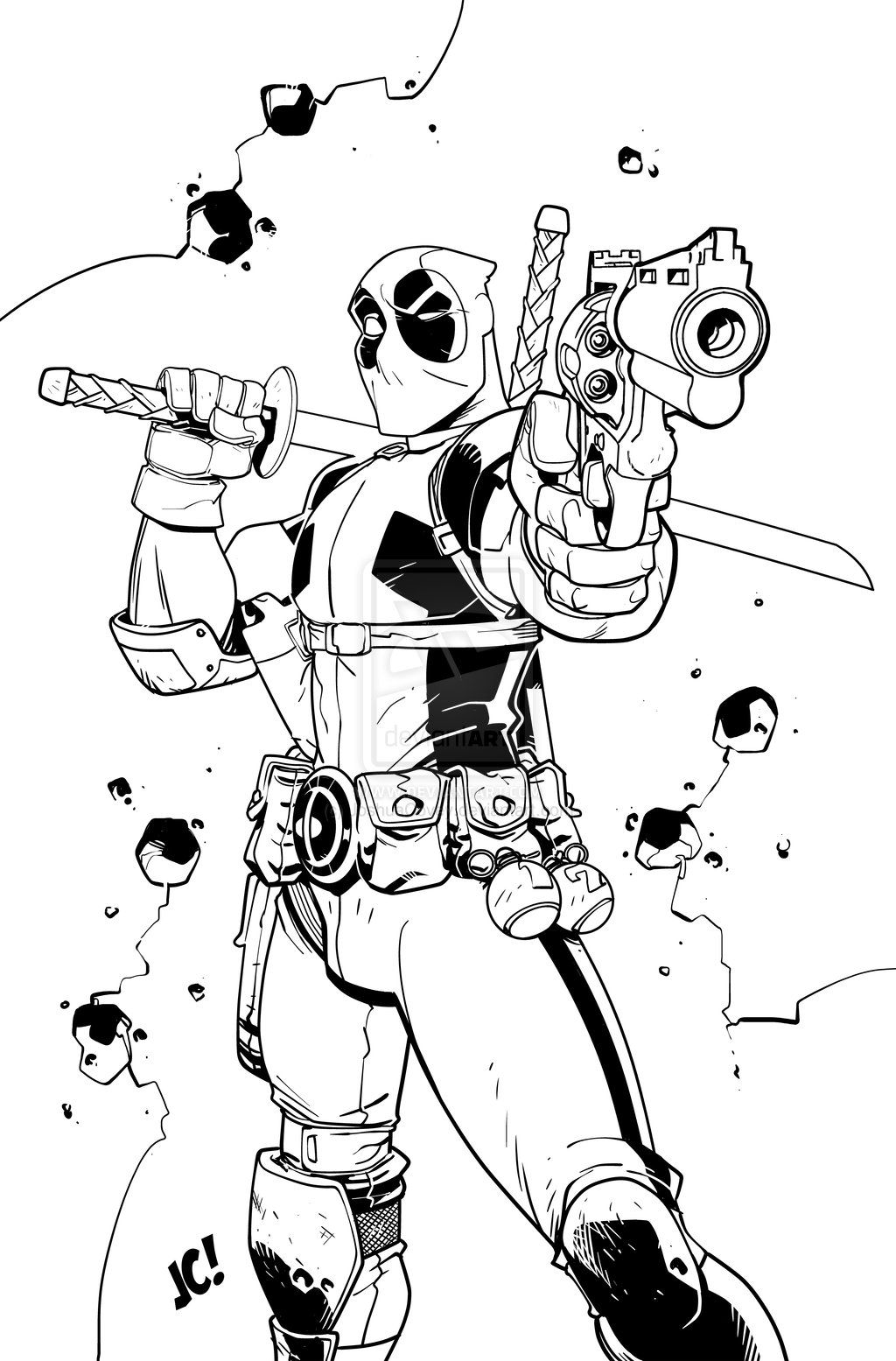 Deadpool Coloring Pages Deadpool Deadpool Fan Art Art