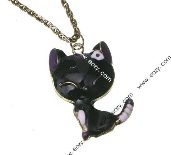 69 cm Sweater Chain Necklace Jewelry Cat Shape Black