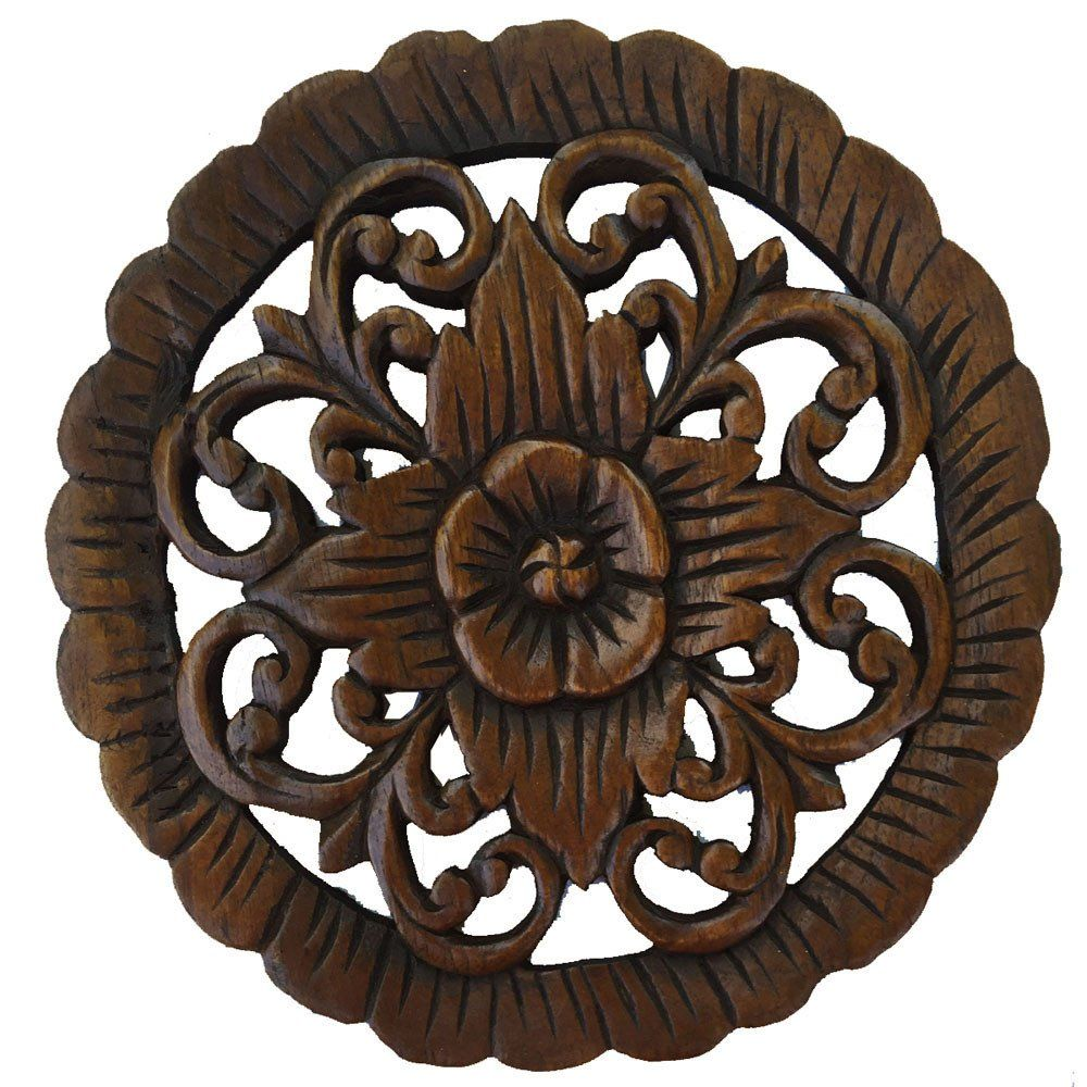 Round Wood Wall Decor wood wall plaque. round wall art. carved wood wall decor. floral