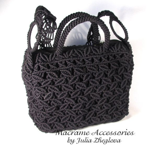 Macrame Bag Dance Of Leaves woman black lace braided by makrame, $145.00