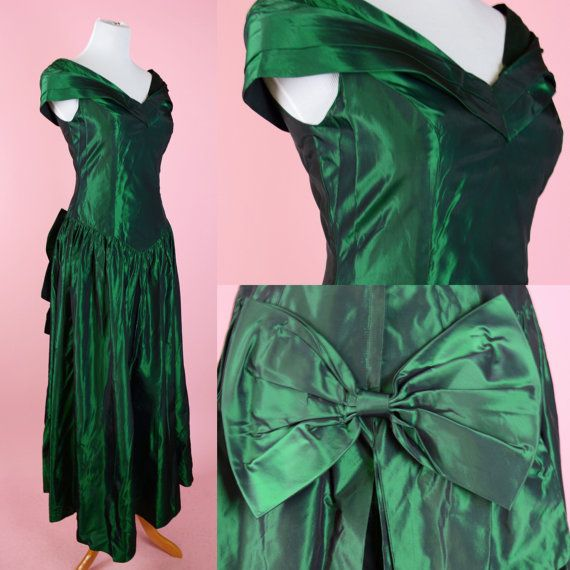 Vintage, Emerald Green, 80s Prom, Evening Gown // 1980s, Party Dress ...