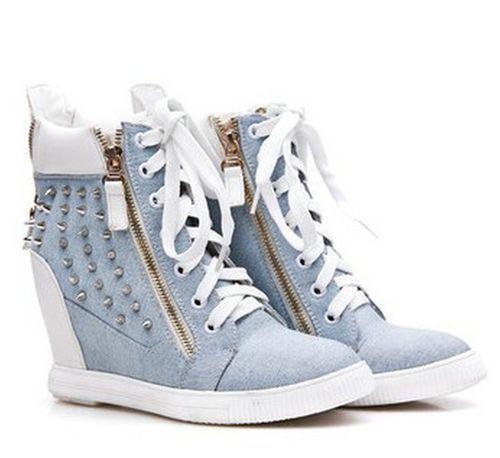 3e70278b4fe Womens High Wedge Heel Zipper Spike Stud Sneaker Shoes Hi Top Lace ...