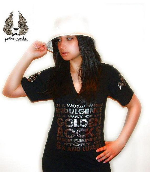 Looove this design  High Quality VNeck tshirt w/silver foiled by GoldenRocks on Etsy, $45.00
