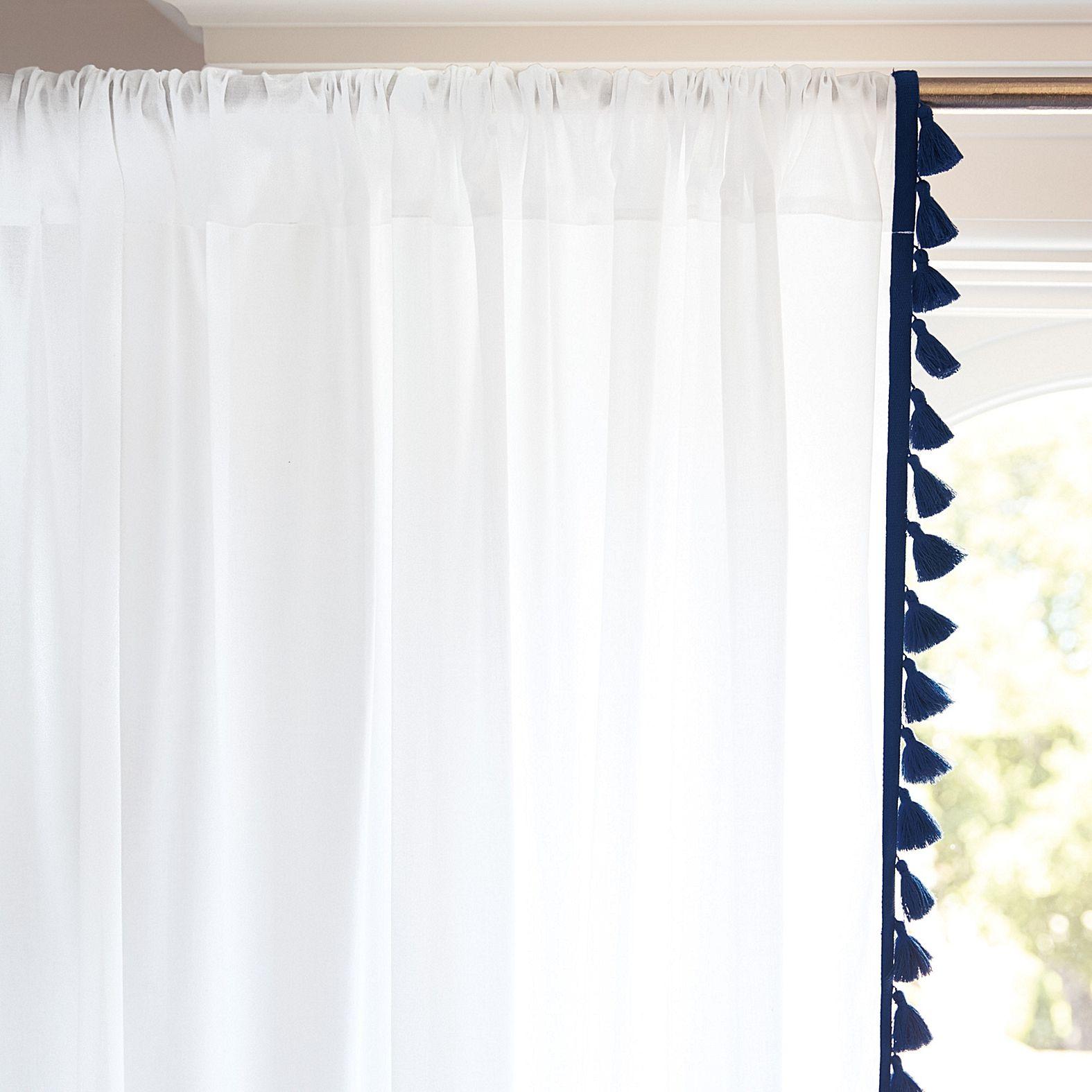 French Tassel Window Panel Navy Serena Lily Tassel