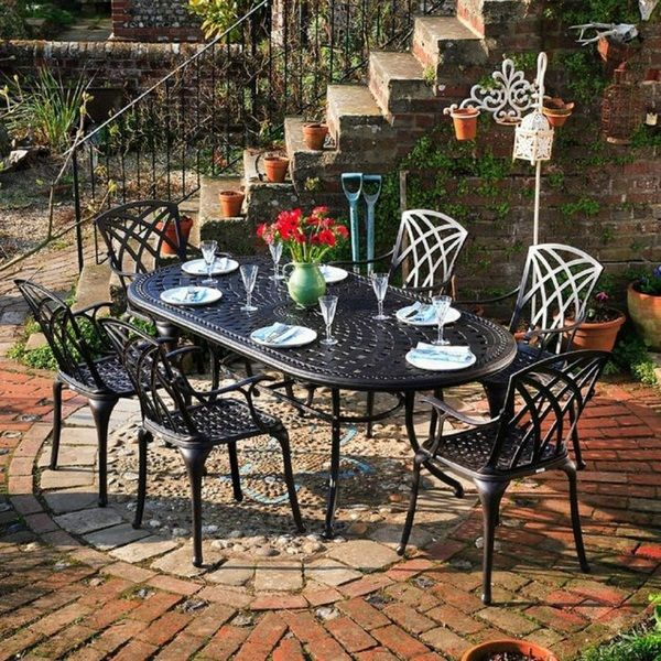 Garden Furniture Set Alu Table With Chairs Cottage Style Dining