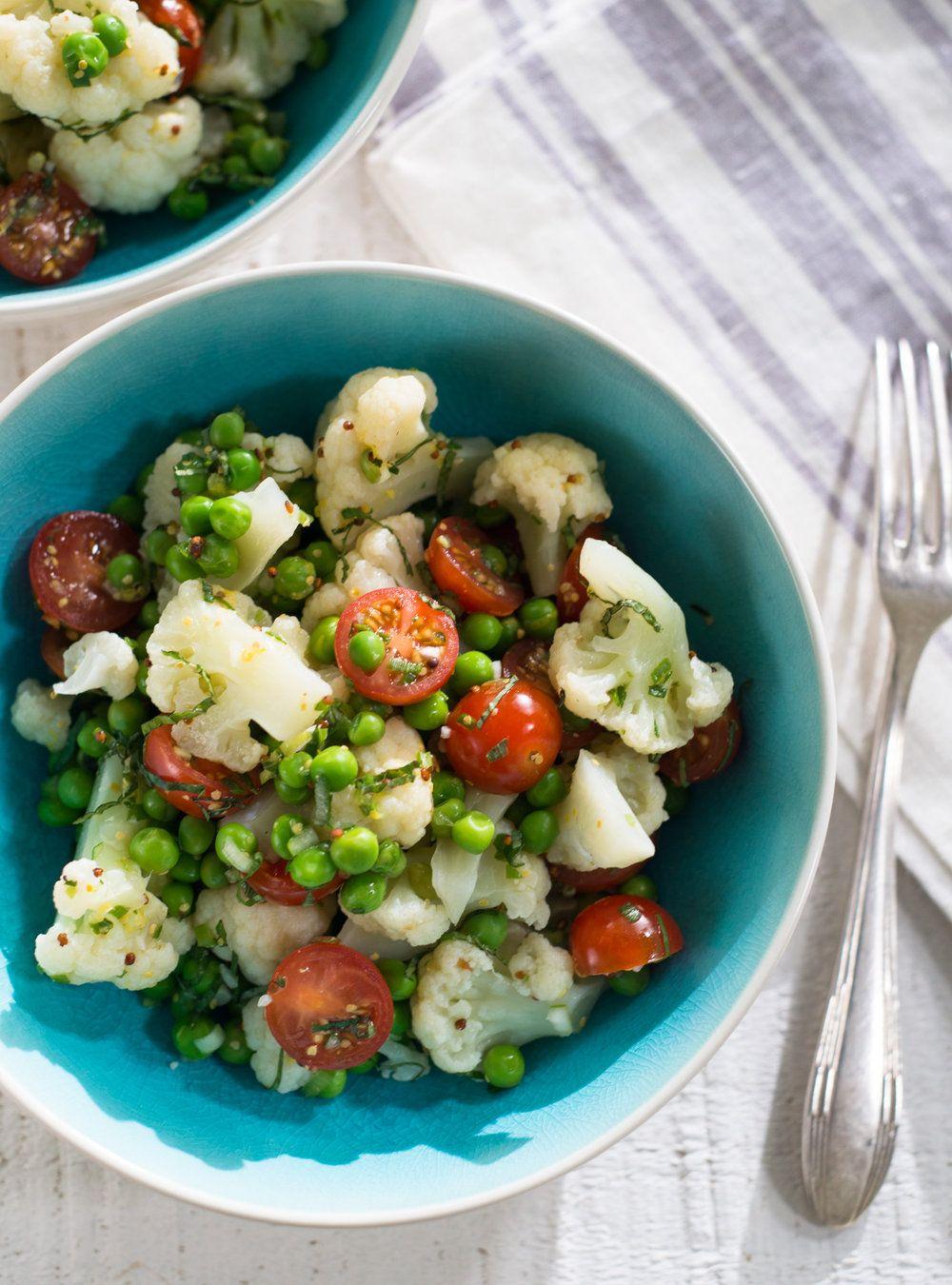 Salade de chou-fleur et de petits pois   Recette   Salade chou fleur, Salade de chou et Recette chou