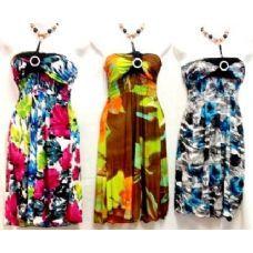 Wholesale Bulk Dresses Beaded Neck Bright Colors Knee High