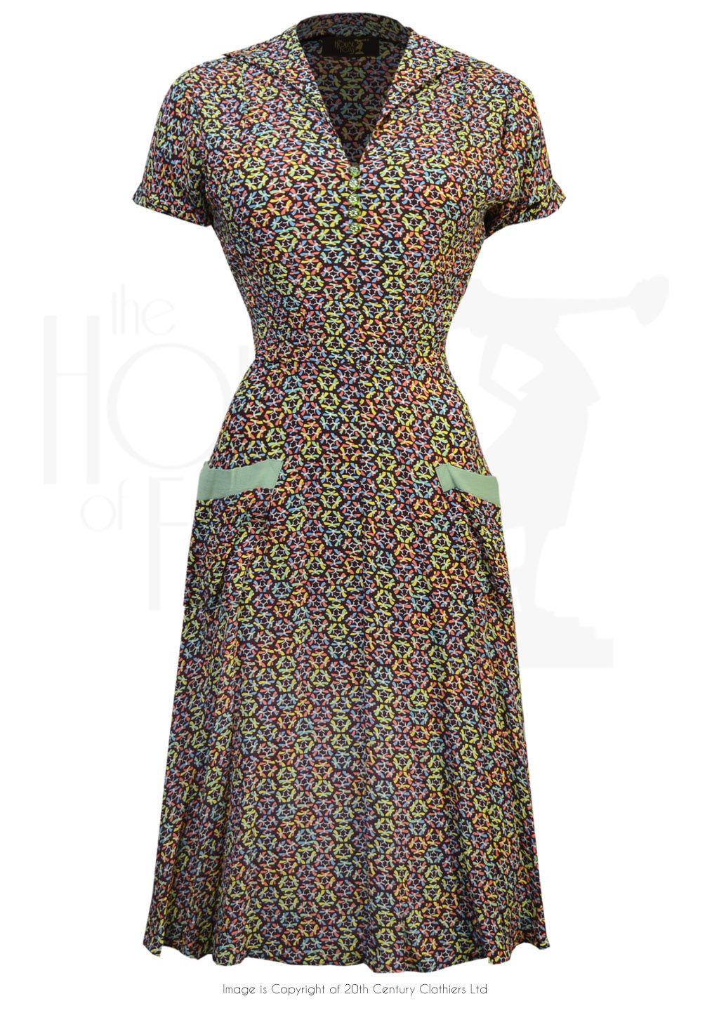 Late 1940s butterfly print wrap dress