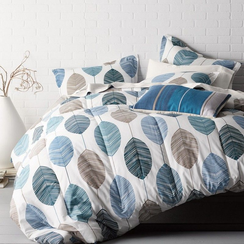 Cstudio Leaves Percale Comforter Collection Stylized Leaves Form