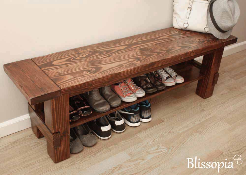 Solid Wood Storage Bench Shoe Entryway By Blissopia
