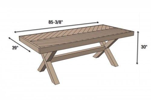 Traditional Diy X Leg Herringbone Dining Table Tisch Tische Im Freien Esstisch