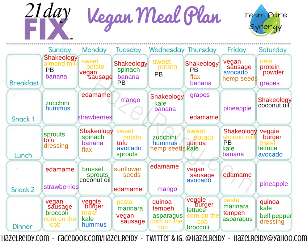 Day Fix Meal Plan  Vegan Style  Get Fit