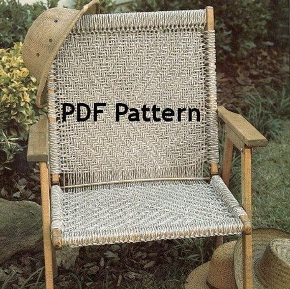 Macrame Chair Pattern Hippie Bohemian Vintage 1980 S