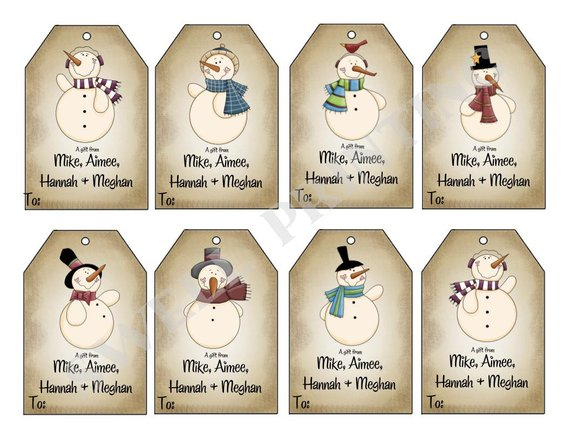 Printable Mr Snowman Gift Tags Holiday Gift Tag Personalized Gift Tags By Swell Printing In 2021 Free Christmas Tags Printable Free Christmas Tags Snowman Gifts