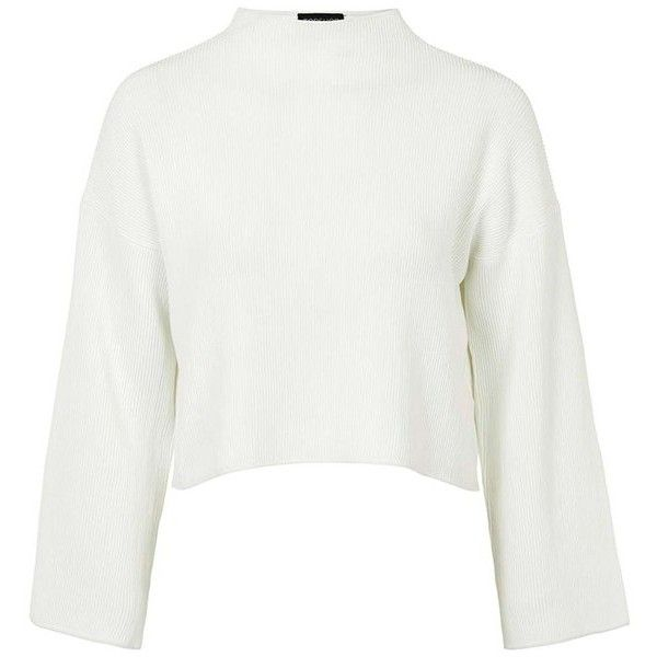 29e912a9ed64a Topshop Funnel Neck Ribbed Crop Top ( 80) ❤ liked on Polyvore featuring tops